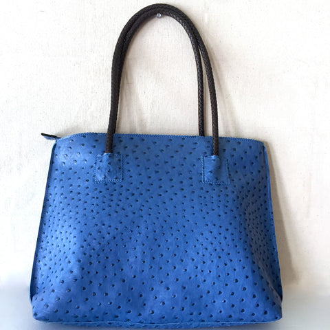 Denim Blue Vegan Ostrich Tote Bag