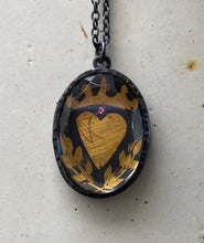 crowned heart talisman pendent.    necklace
