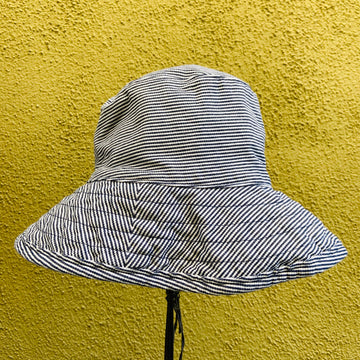navy stripe crusher.    hat