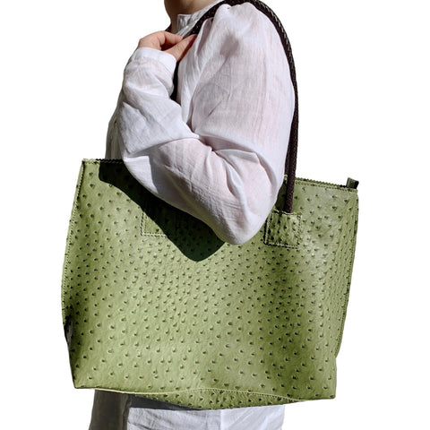 Cactus Green Vegan Ostrich Tote Bag