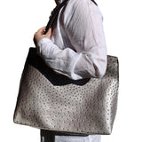 Metallic Silver Vegan Ostrich Tote Bag