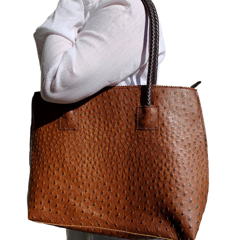 Chocolate Brown Vegan Ostrich Tote Bag