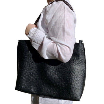 Black Vegan Ostrich Tote Bag