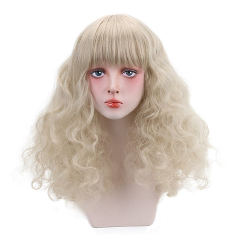 20'' Curly Blonde/Brown Lolita Wig With Bangs