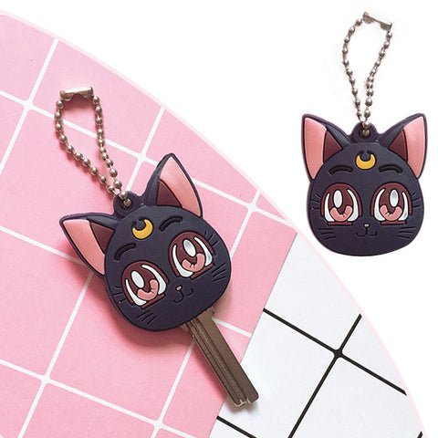Sailor Moon Luna Purple Cat Keychain