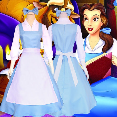 Disney Beauty and the Beast Belle Cosplay Costume ( Shirt + Dress + Apron + Headwear )