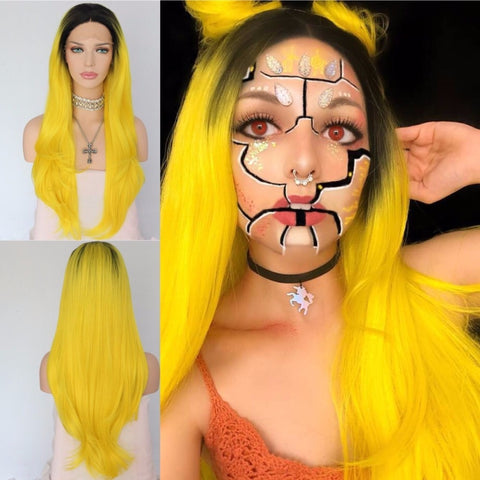Black/Yellow Ombre Lace Front Wig