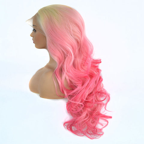Blonde Roots Ombre Pink Curly Lace Front Wig