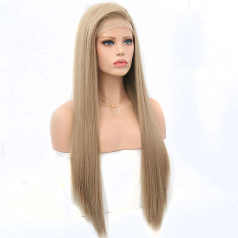 Straight Light Brown/Blonde Natural Lace Front Wig
