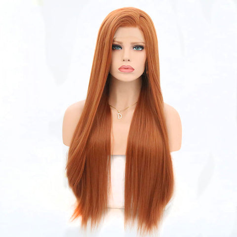 Orange Straight Natural Lace Front Wig