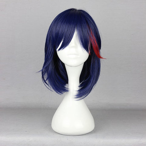 KILL la KILL Matoi Ryuko 16'' Wavy Dark Blue/Red Cosplay Wig + Cap