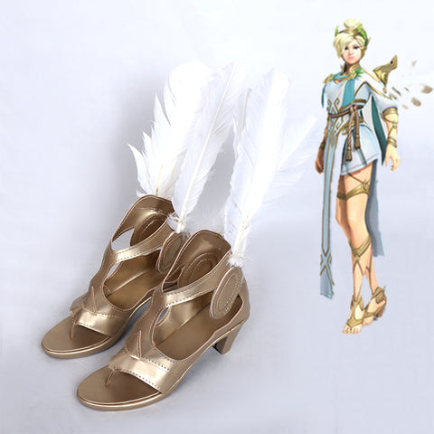 Overwatch Winged Mercy Summer Games Cosplay Costume Shoes