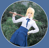 Fate Stay Night Saber School Girls Uniforms (Tops+Skirt+Tie+Stockings) Cosplay