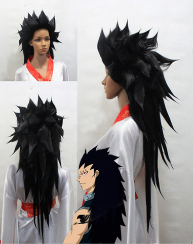 Fairy Tail Gajeel Redfox Black Stlyed Cosplay Wig