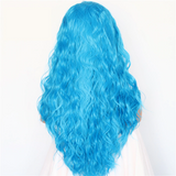 Bright Blue Natural Water Wave Lace Front Wig