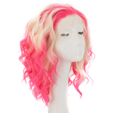 Short Wavy Pink Blonde Ombre Lace Front Wig