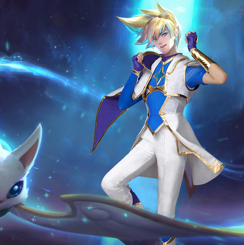 LoL Star Guardian Ezreal Cosplay Costume (Coat+Shirt+Pants+Shoes Covers+Gloves+Glasses)