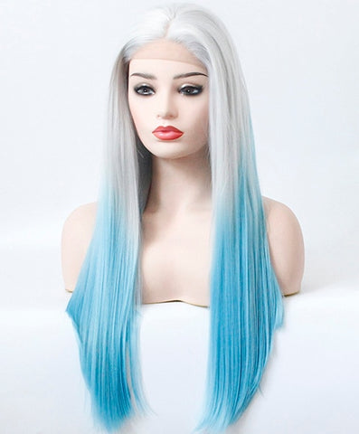 Silver Root Ombre Blue Straight Lace Front Wig