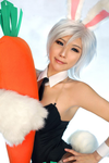 League of Legends Battle Bunny Riven Cosplay Costume (Suit+Stockings+Belt+Tie+Wristband+Gloves+Ears+Shoes)