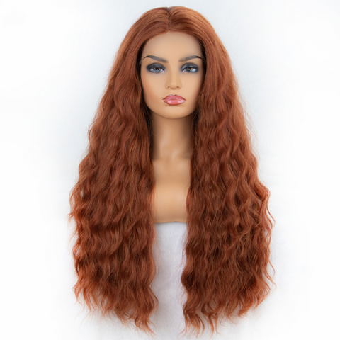 Copper Red Middle Part Wavy Lace Front Wig
