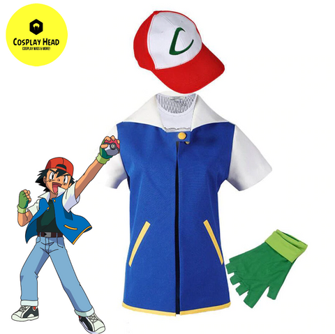 Pokemon Ash Ketchum Cosplay Costume (Blue Jacket + Gloves + Hat)