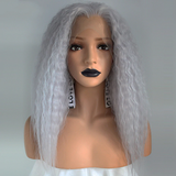 "16"" Water Wave Purple Gray Synthetic Lace Front Wig"