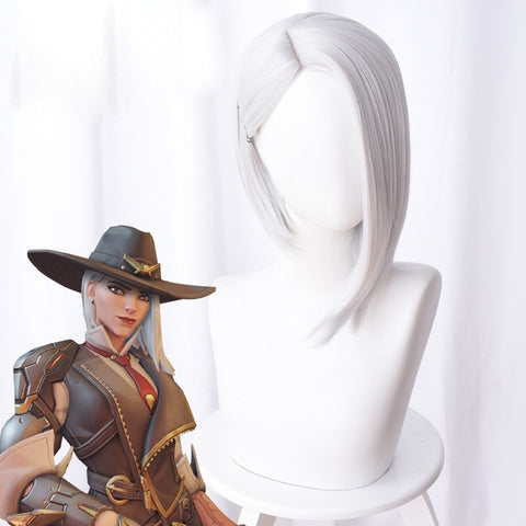 Overwatch 30cm Short Silver Ashe Cosplay Wig