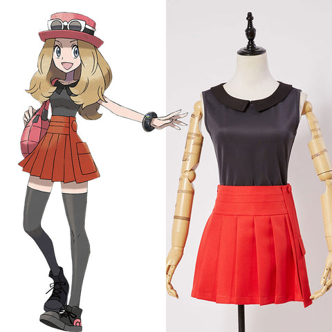 Pokemon XY Before Kalos Quest Serena Default Outfit Cosplay Costume