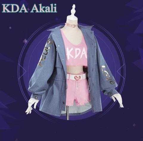 LoL KDA Akali Illustration Magazine Style Cosplay Costume