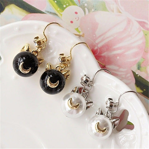 Sailor Moon Luna Artemis Pearl Anime Earrings