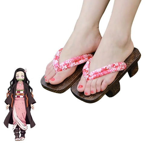 Demon Slayer Nezuko Cosplay Geta Japanese Shoes