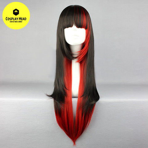 80CM  Red/Black Anime Cosplay Wig With Bang + Cap