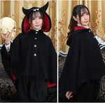 Lolita Cape Devil Hooded Wool Blend Cloak