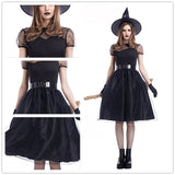 WEPBEL 5Pcs Set Halloween Cosplay Witch Dress Performance Dress Party Cosplay Costume