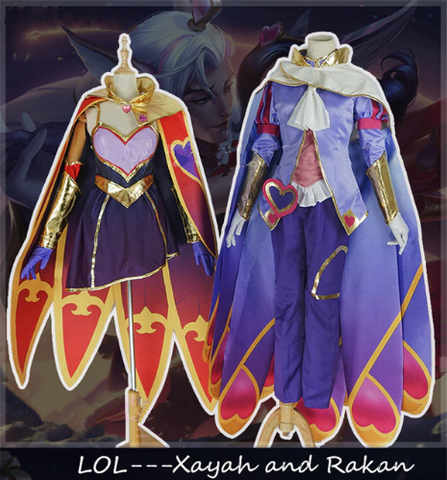 LoL The Rebel Xayah and The Charmer Rakan Sweetheart Valentine's Day Cosplay Costume