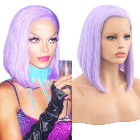 10 Inch Purple Short Bob Lace Front Wig