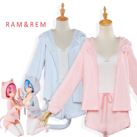 Re:Zero Rem & Ram Sexy Cat Ear Cosplay Pajamas