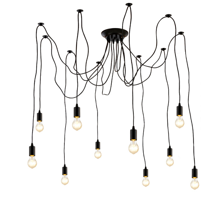 Edison spider chandelier Pendants Light industrial vintage style cluster 10 Black (ED272P1-10)