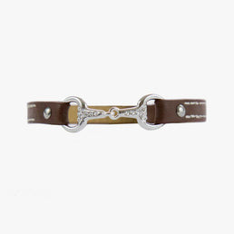 Fano - Bracelet en cuir simple tour - mors en strass Equestrian shop