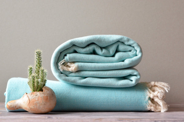Herringbone Cotton Throw - Indigo Traders