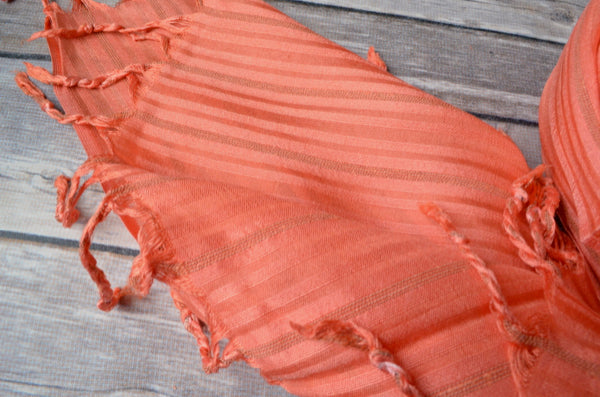 Hand-loomed Silk Shawl - Coral