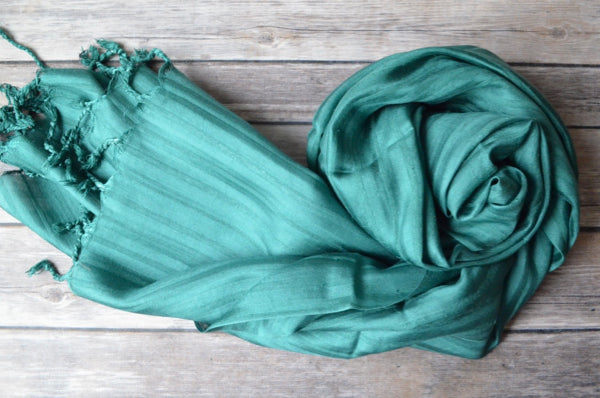 Hand-loomed Silk Shawl - Turquoise