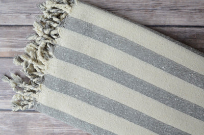 Hand-loomed Silk Scarf - Grey Stripe - Indigo Traders
