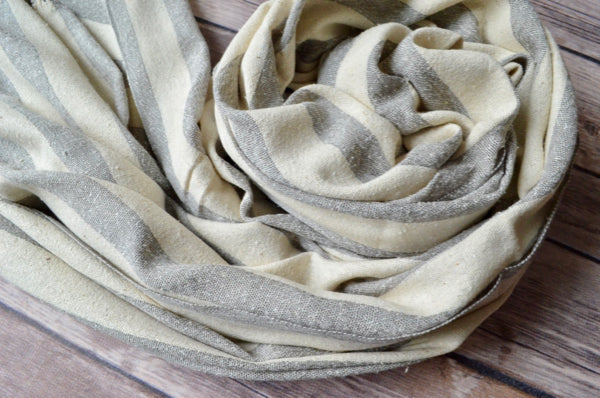 Hand-loomed Silk Shawl - Grey Stripe