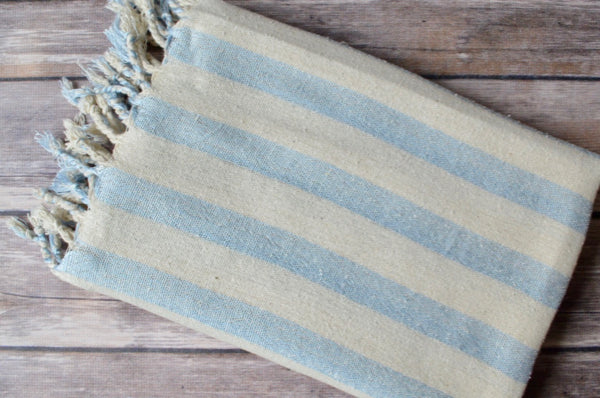 Hand-loomed Silk Scarf - Blue Stripe - Indigo Traders