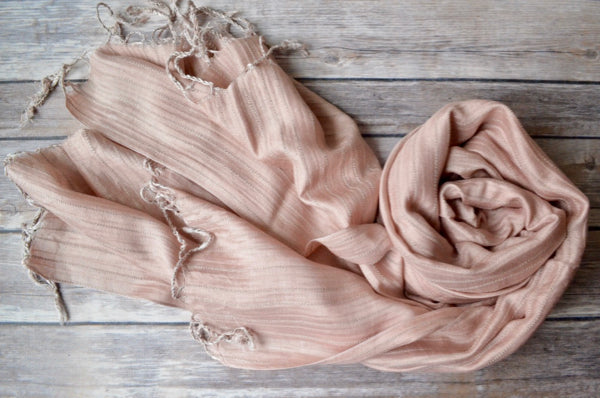 Hand-loomed Silk Shawl - Rose