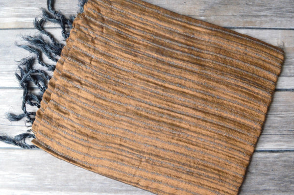 Hand-loomed Silk Shawl - Copper