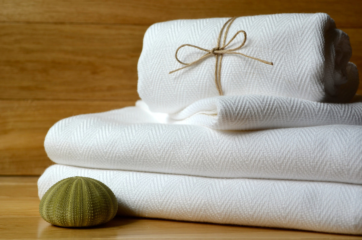 Herringbone Towels - White - Indigo Traders
