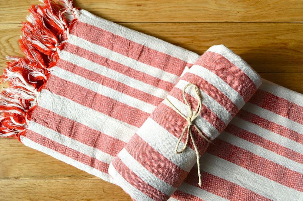 Bala Linen Towel - Authentic Turkish Towel - Eco-friendly Hammam Towel - Perfect Travel Towel - Pestemal