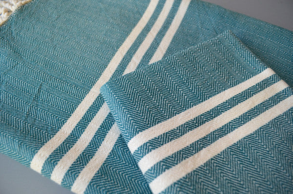 Matta Herringbone Towel - Authentic Turkish Towel - Eco-friendly Hammam Towel - Perfect Travel Towel - Pestemal - Peshtemal - Lightweight Towel with Fringe